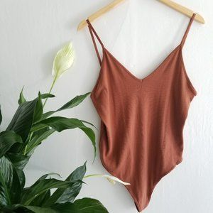 BP Brown Ribbed V Neck Thong Bodysuit XL New!